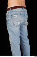 Hamza blue jeans brown belt buttock dressed hips thigh 0002.jpg