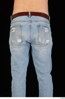 Hamza blue jeans brown belt buttock dressed hips thigh 0003.jpg