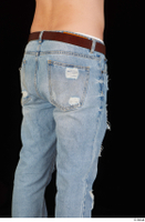 Hamza blue jeans brown belt buttock dressed hips thigh 0004.jpg