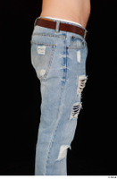 Hamza blue jeans brown belt buttock dressed hips thigh 0005.jpg