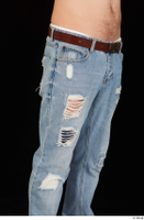 Hamza blue jeans brown belt dressed hips thigh 0003.jpg