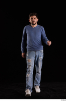 Hamza  1 blue jeans blue sweatshirt dressed front view walking white sneakers whole body 0001.jpg