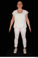 Donna dressed sneakers standing white pants white top whole body 0001.jpg