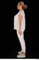 Donna dressed sneakers standing white pants white top whole body 0003.jpg