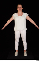 Donna dressed sneakers standing white pants white top whole body 0009.jpg