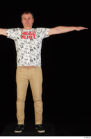 Spencer black sneakers brown trousers dressed standing t poses white printed t shirt whole body 0001.jpg