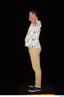 Spencer black sneakers brown trousers dressed standing t poses white printed t shirt whole body 0003.jpg
