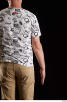 Spencer  1 arm back view dressed flexing white printed t shirt 0001.jpg