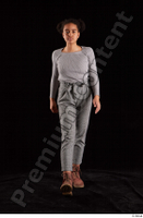 Zahara  1 brown workers dressed front view grey sweatshirt grey trousers walking whole body 0001.jpg