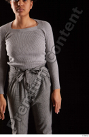 Zahara  1 arm dressed flexing front view grey sweatshirt 0001.jpg