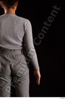 Zahara  1 arm back view dressed flexing grey sweatshirt 0001.jpg