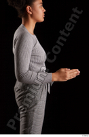 Zahara  1 arm dressed flexing grey sweatshirt side view 0003.jpg
