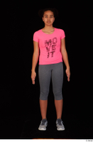 Zahara dressed grey sneakers grey sports leggings pink t shirt sports standing whole body 0001.jpg