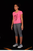 Zahara dressed grey sneakers grey sports leggings pink t shirt sports standing whole body 0002.jpg