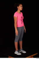 Zahara dressed grey sneakers grey sports leggings pink t shirt sports standing whole body 0008.jpg