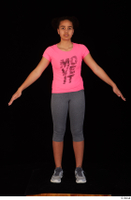 Zahara dressed grey sneakers grey sports leggings pink t shirt sports standing whole body 0009.jpg