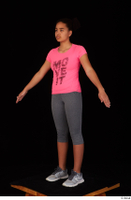 Zahara dressed grey sneakers grey sports leggings pink t shirt sports standing whole body 0010.jpg