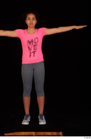 Zahara dressed grey sneakers grey sports leggings pink t shirt sports standing t poses whole body 0001.jpg