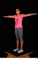 Zahara dressed grey sneakers grey sports leggings pink t shirt sports standing t poses whole body 0002.jpg