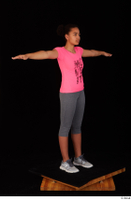 Zahara dressed grey sneakers grey sports leggings pink t shirt sports standing t poses whole body 0008.jpg