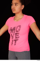 Zahara dressed pink t shirt sports upper body 0002.jpg