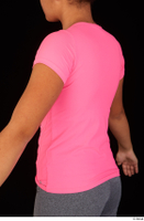 Zahara dressed pink t shirt sports upper body 0005.jpg