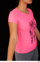 Zahara dressed pink t shirt sports upper body 0010.jpg