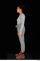 Zahara brown workers casual dressed grey sweatshirt grey trousers standing whole body 0003.jpg