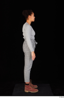 Zahara brown workers casual dressed grey sweatshirt grey trousers standing whole body 0007.jpg