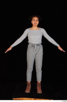 Zahara brown workers casual dressed grey sweatshirt grey trousers standing whole body 0009.jpg