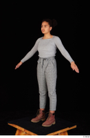 Zahara brown workers casual dressed grey sweatshirt grey trousers standing whole body 0010.jpg