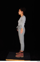 Zahara brown workers casual dressed grey sweatshirt grey trousers standing whole body 0011.jpg
