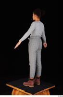 Zahara brown workers casual dressed grey sweatshirt grey trousers standing whole body 0012.jpg