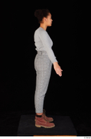 Zahara brown workers casual dressed grey sweatshirt grey trousers standing whole body 0015.jpg