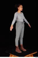 Zahara brown workers casual dressed grey sweatshirt grey trousers standing whole body 0016.jpg