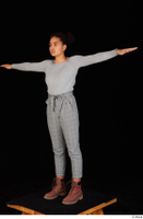 Zahara brown workers casual grey sweatshirt grey trousers standing t poses whole body 0002.jpg