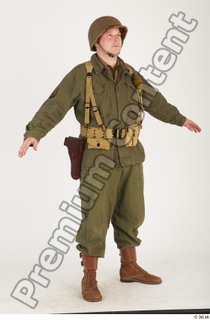 U.S.Army uniform World War II. - Technical Corporal army soldier standing uniform whole body 0008.jpg