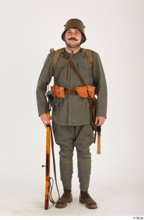 Austria-Hungary army uniform World War I. ver.1 - poses army poses with gun soldier standing uniform whole body 0017.jpg