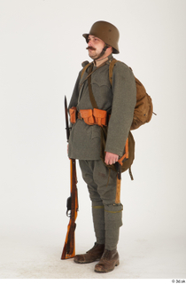Austria-Hungary army uniform World War I. ver.1 - poses army poses with gun soldier standing uniform whole body 0018.jpg