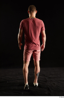 Max Dior  1 back view dressed red shorts red t shirt walking white loafers whole body 0002.jpg