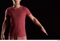 Max Dior  1 arm dressed flexing front view red t shirt 0002.jpg