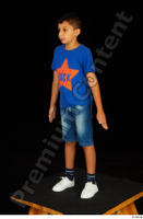 Timbo blue t shirt dressed jeans shorts standing white sneakers whole body 0002.jpg