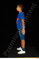 Timbo blue t shirt dressed jeans shorts standing white sneakers whole body 0008.jpg