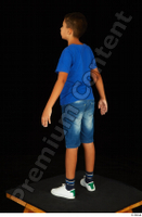 Timbo blue t shirt dressed jeans shorts standing white sneakers whole body 0009.jpg