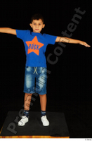 Timbo blue t shirt jeans shorts standing t poses white sneakers whole body 0001.jpg