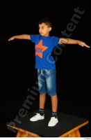 Timbo blue t shirt jeans shorts standing t poses white sneakers whole body 0002.jpg