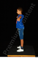 Timbo blue t shirt jeans shorts standing t poses white sneakers whole body 0003.jpg
