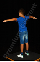 Timbo blue t shirt jeans shorts standing t poses white sneakers whole body 0004.jpg