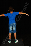 Timbo blue t shirt jeans shorts standing t poses white sneakers whole body 0005.jpg