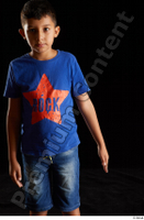 Timbo  1 arm blue t shirt dressed flexing front view 0002.jpg